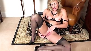 Horny Blonde Finger Fucks Humid Vulva In Girdle Antique Nylons