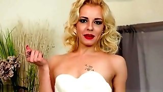 Racy Blonde April Paisley Strips Off Retro Underwear Finger Fucks In Nylons