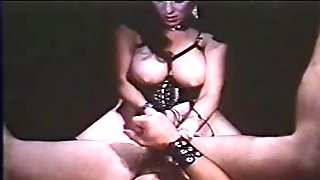 Annie Sprinkle fucks lucky dude with strap on dildo