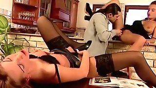 Adriana And Sylvi Anderson Go Wild In A Antique 3way